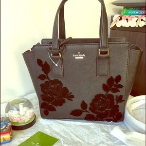 Kate spade flock roses black satchel